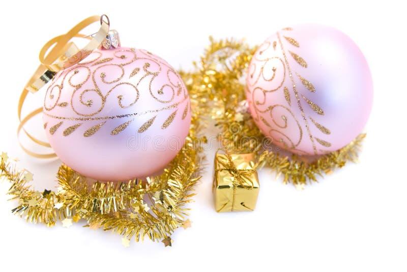 Esferas de vidro do Natal cor-de-rosa foto de stock royalty free