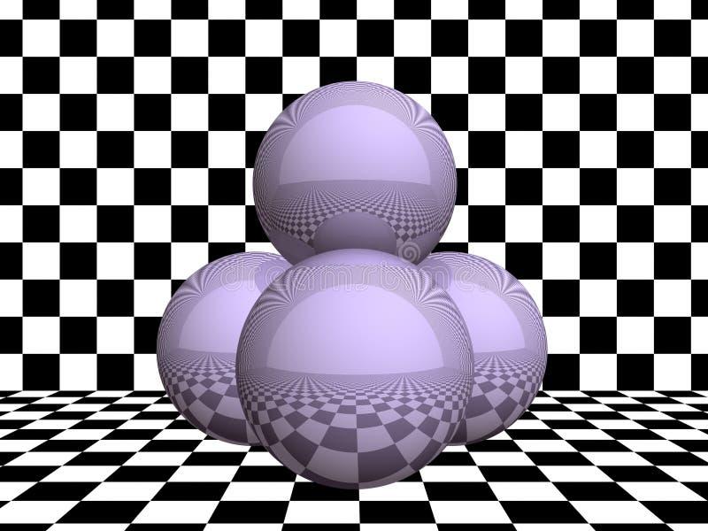 Esferas de vidro no tabuleiro de damas ilustração do vetor