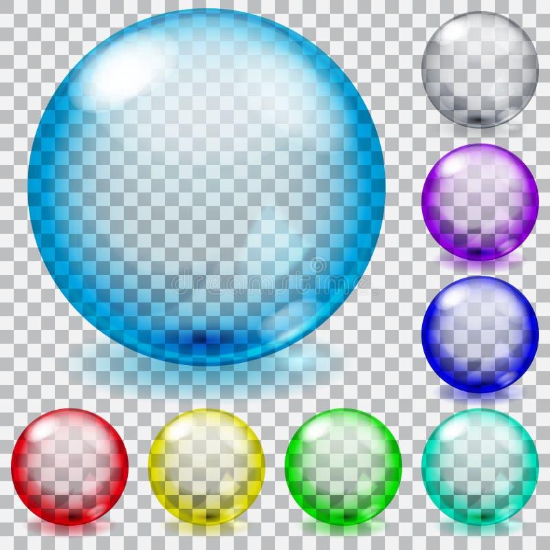 Esferas de vidro transparentes coloridas ilustração royalty free