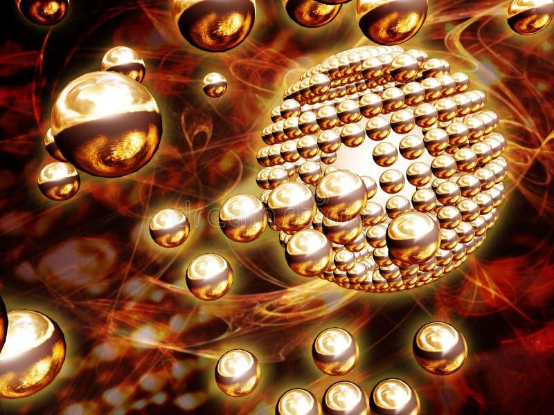 Esferas del cromo del oro ilustración del vector