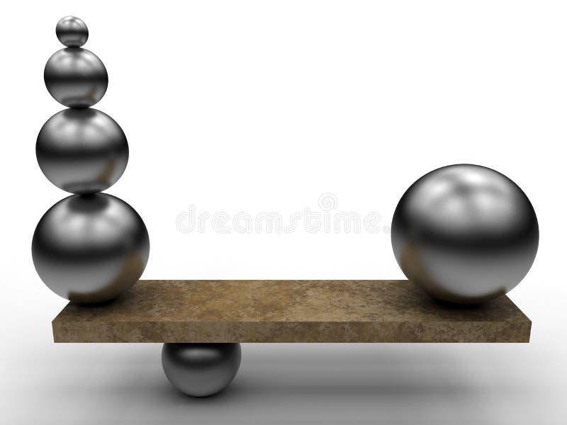 Esferas del metal - concepto de la balanza ilustración del vector