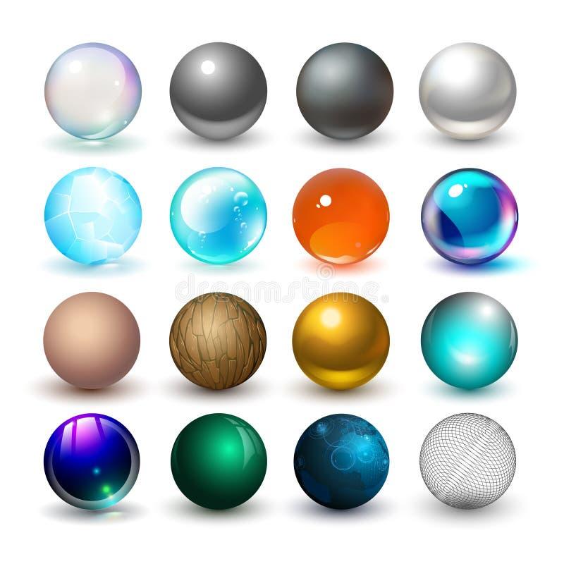 Esferas diferentes Materiais e elementos do projeto ilustração stock