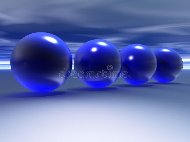 esferas do azul 3D   ilustração royalty free
