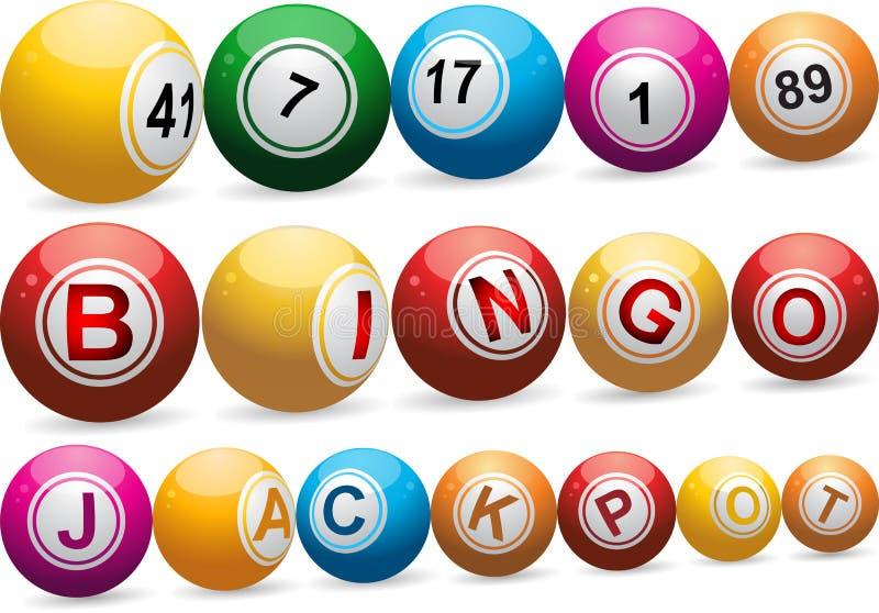 Esferas do Bingo no branco ilustração stock