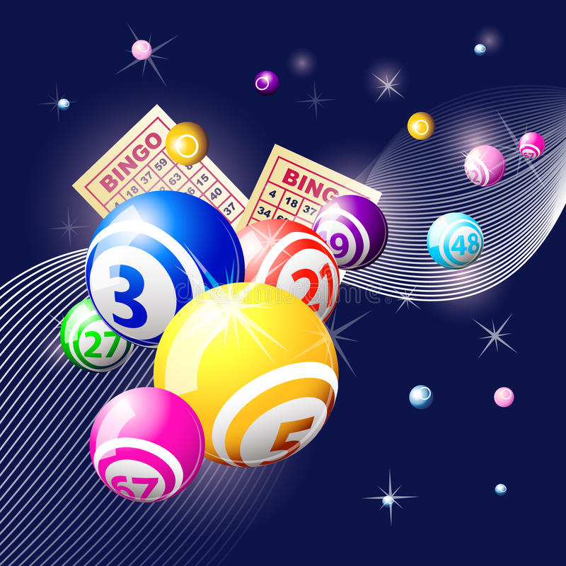 Esferas do Bingo ou da lotaria no fundo azul ilustração stock