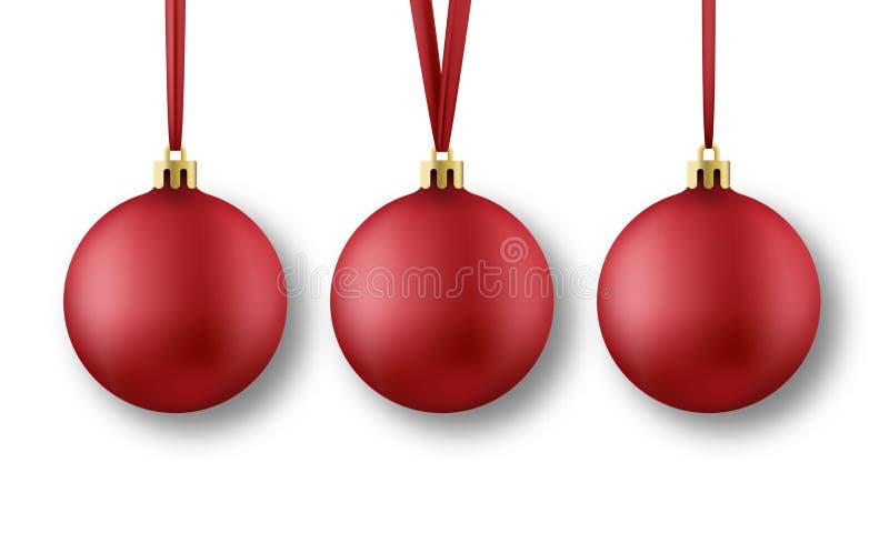 esferas do Natal ajustadas Bolas vermelhas realísticas do Natal com as fitas de seda, isoladas no fundo transparente ilustração do vetor