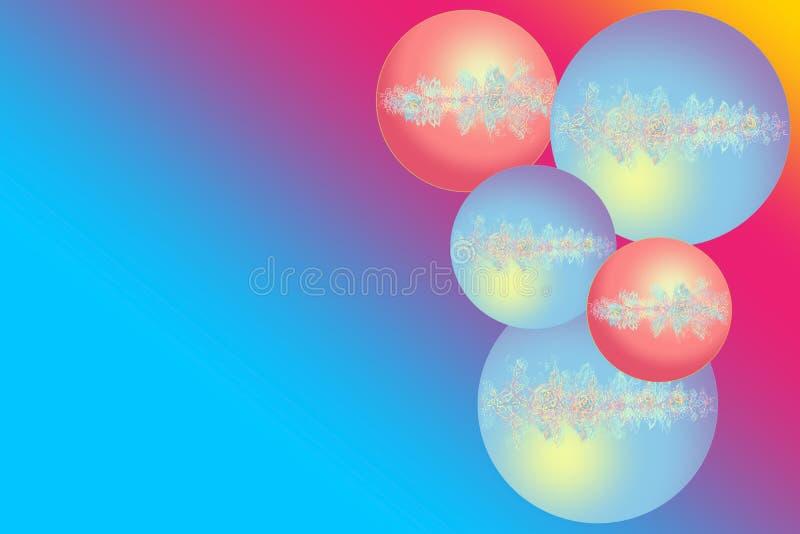 Esferas do Natal Cart?o do ano novo feliz Bolas do Natal com a flor e a imagem a céu aberto Arco-?ris do fundo foto de stock