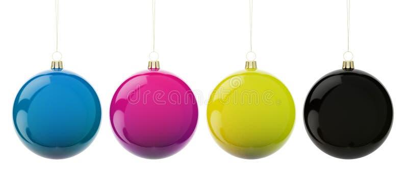 Esferas do Natal CMYK ilustração stock