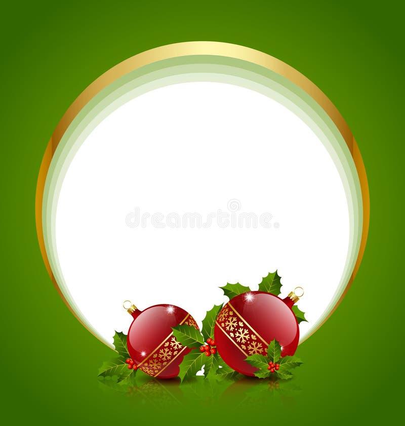 Esferas do Natal com azevinho ilustração stock