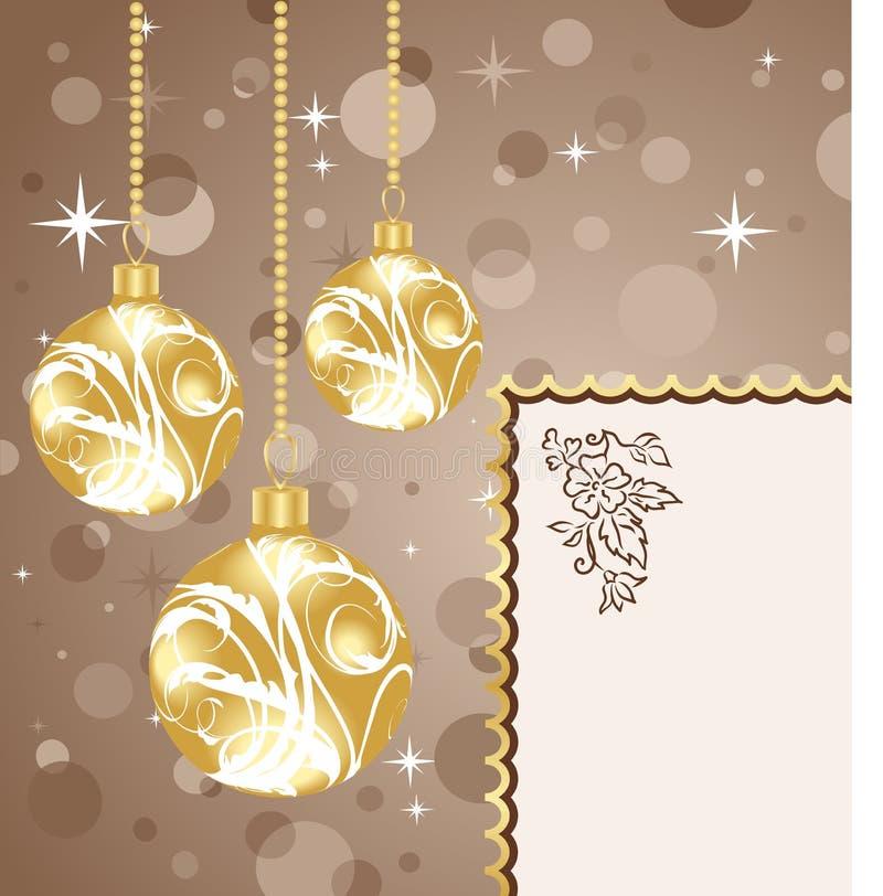 Esferas do Natal com cartão ilustração royalty free