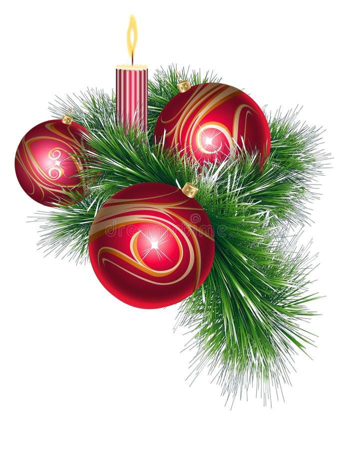 Esferas do Natal com ouropel e vela ilustração do vetor