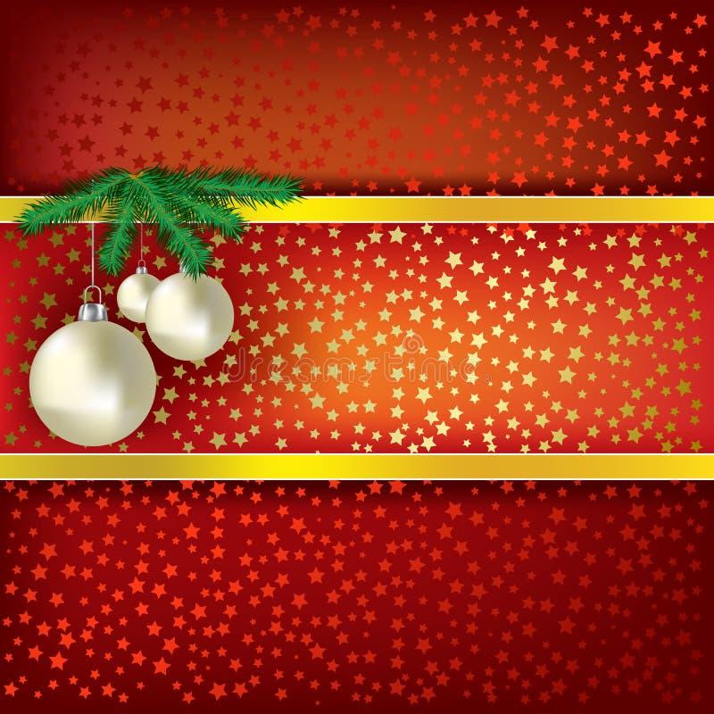 Esferas do Natal e fundo vermelho do vetor das estrelas ilustração stock