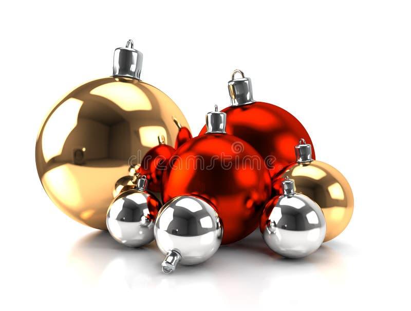 Download Esferas Do Natal - Ouro, Vermelho, Prata Ilustração Stock - Ilustração de brilhante, decorativo: 26512066