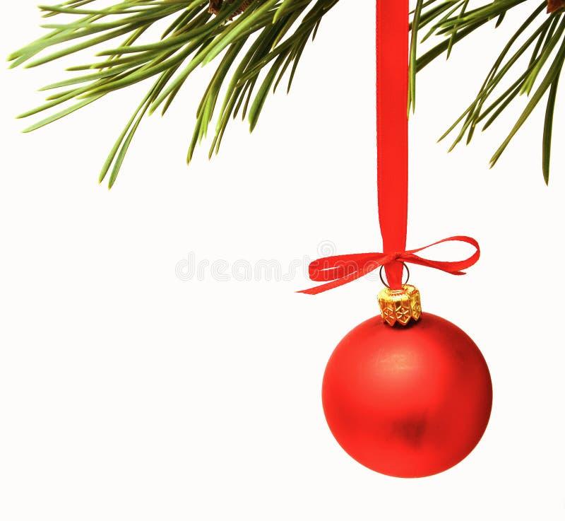 Esferas do vermelho da decoração de Cristmas fotos de stock
