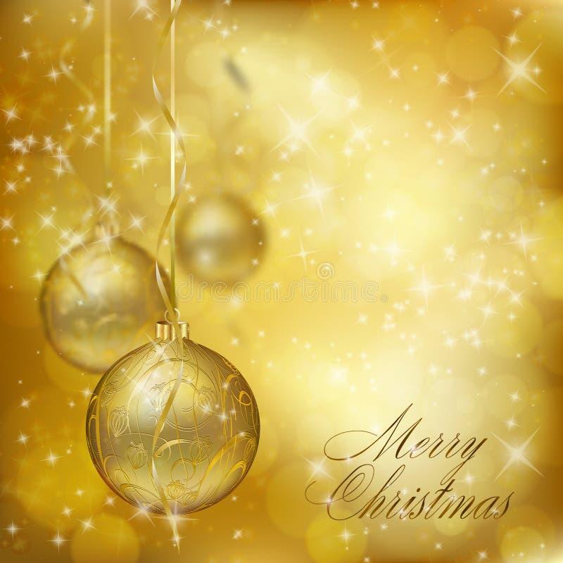 Esferas douradas do Natal ilustração stock