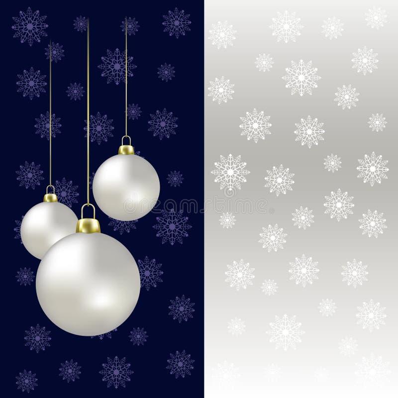 Esferas e flocos de neve do Natal em um cinza ilustração stock