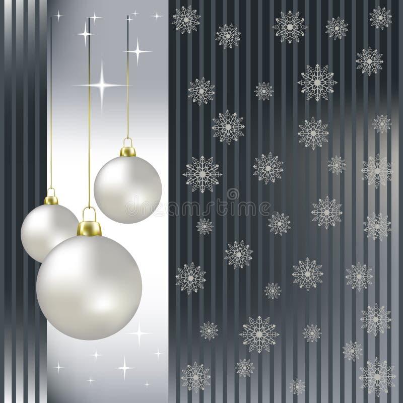 Esferas e flocos de neve do Natal em uma prata ilustração royalty free