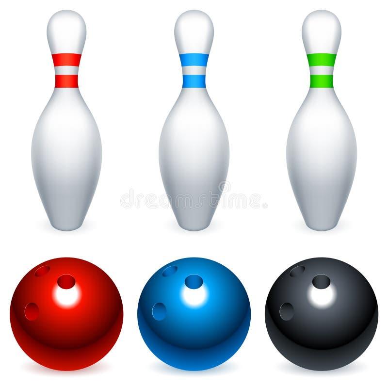 Esferas e pinos de bowling. ilustração royalty free