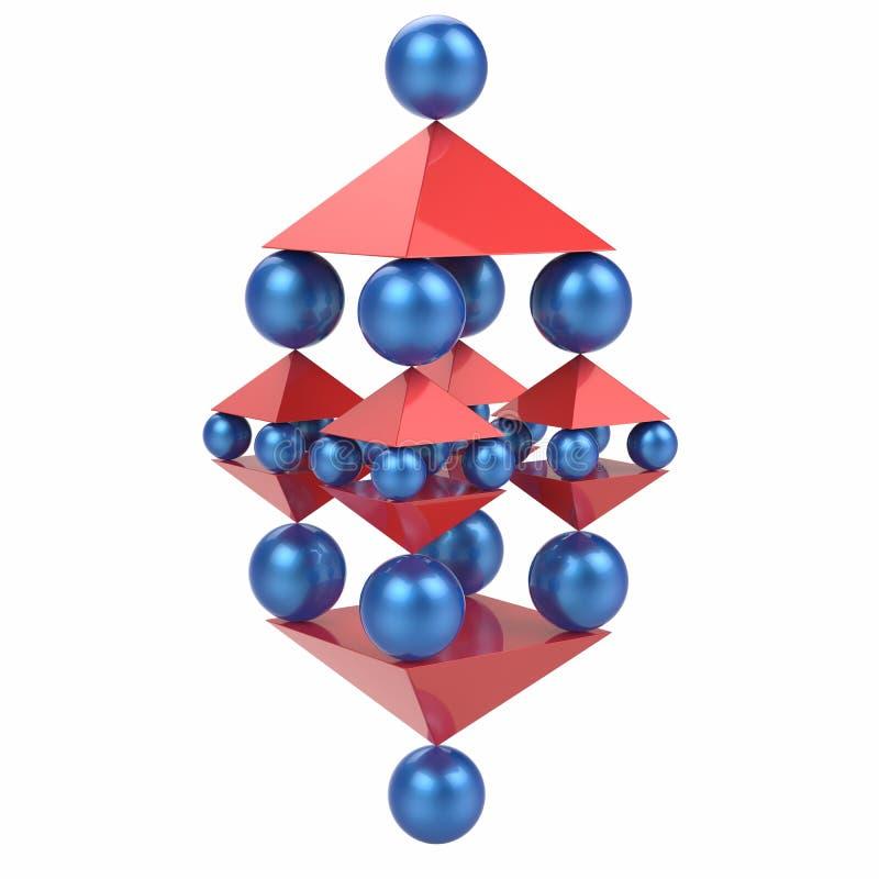 Esferas e pirâmides, conceito abstrato do equilíbrio ilustração royalty free