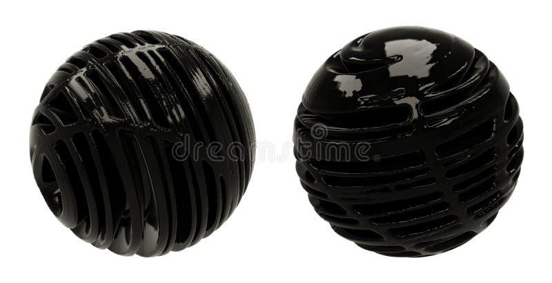 Esferas escuras do sumário 3D foto de stock