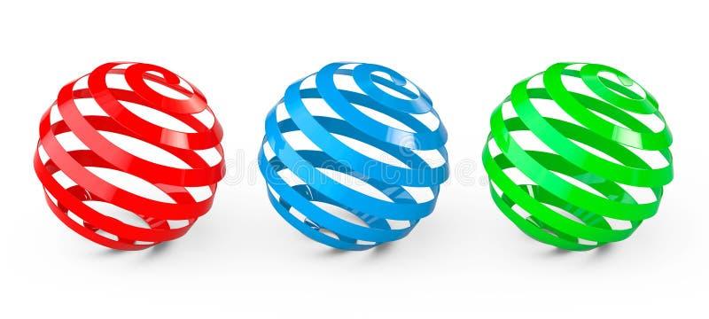 Esferas espirales abstractas stock de ilustración