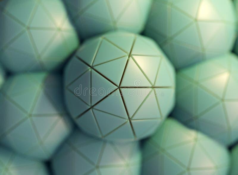 Esferas, icospheres, 3d rendi??o, fundo abstrato da ilustra??o ilustração stock