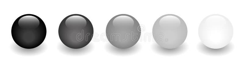 Esferas lustrosas pretas - obscuridade à luz ilustração stock