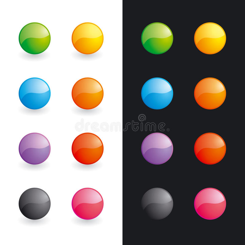 Esferas lustrosas (teclas) ilustração do vetor