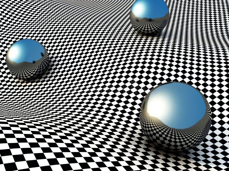 Esferas metálicas na superfície do verificador abstraia o fundo ilustração stock