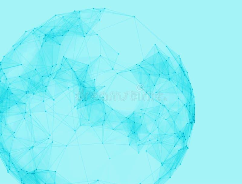 Esferas poligonais abstratas Baixo estilo poli da tecnologia futurista Fundo elegante dos pontos para apresentações do negócio ilustração do vetor