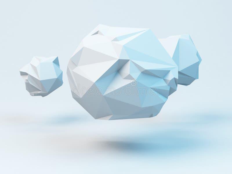 Esferas poligonais cinzentas Fundo moderno geométrico abstrato 3d rendem a ilustração ilustração do vetor