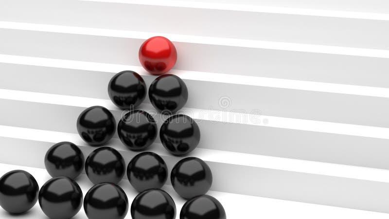 Esferas pretas vermelhas do crescimento ilustração do vetor