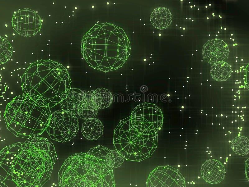 Esferas que vuelan que brillan intensamente del wireframe abstracto imágenes de archivo libres de regalías