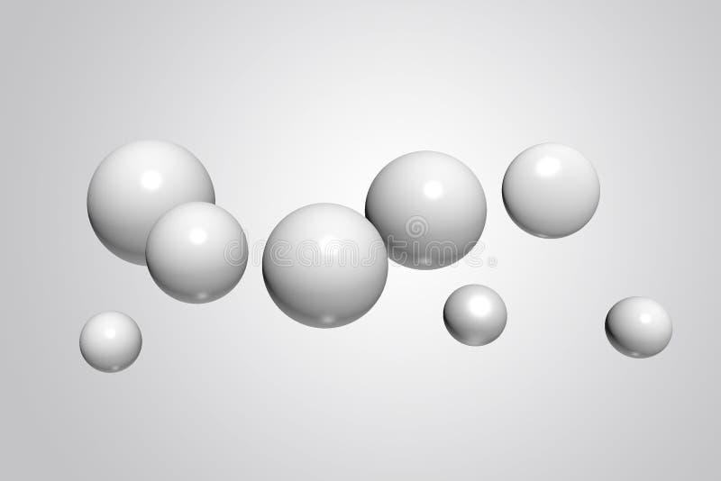 Esferas realísticas abstratas, bolas plásticas lustrosas no fundo branco, rendição 3d ilustração do vetor