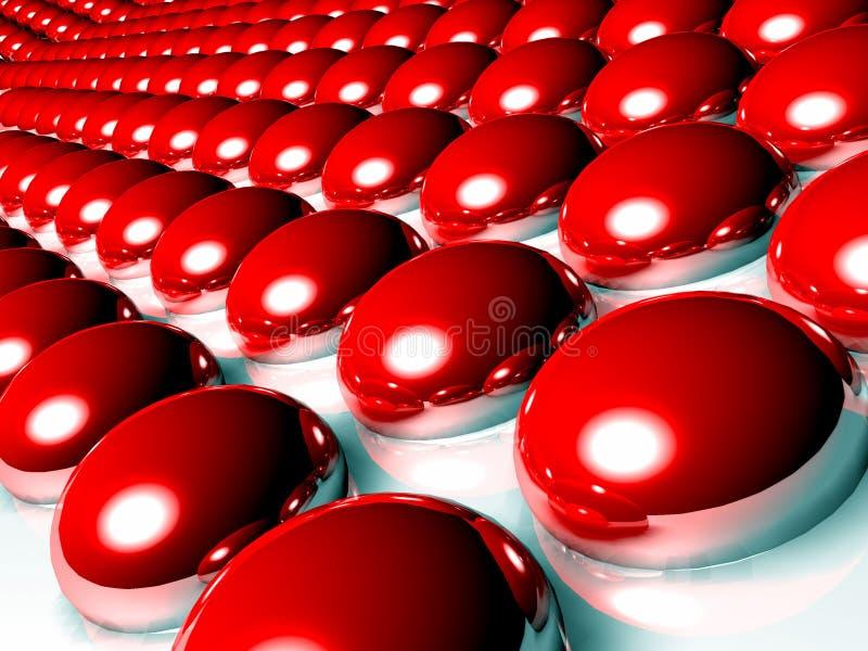 Esferas rojas 3d stock de ilustración