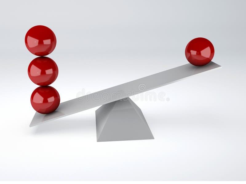 Esferas rojas Concepto del balance stock de ilustración