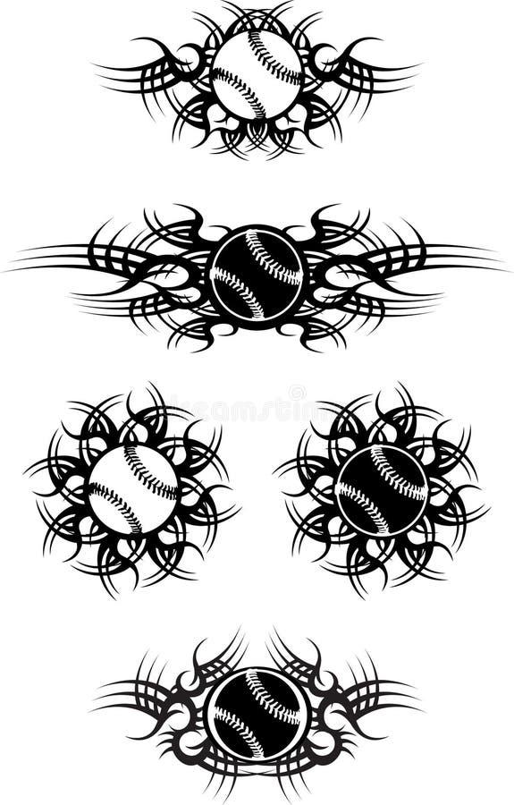Esferas tribais do basebol ou do softball ilustração royalty free