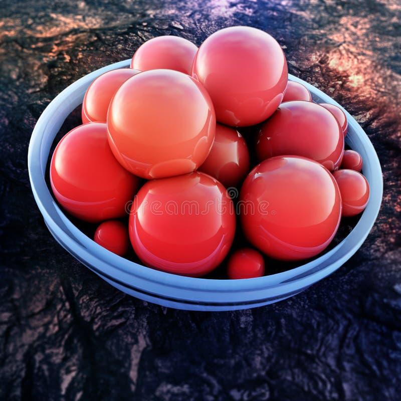 Esferas vermelhas abstratas com anel azul ilustração royalty free