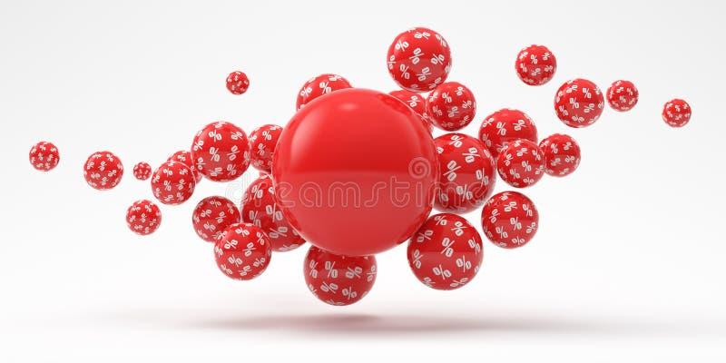Esferas vermelhas de voo do interesse em um fundo branco 3d rendem a ilustra??o Ilustra??o para anunciar ilustração do vetor