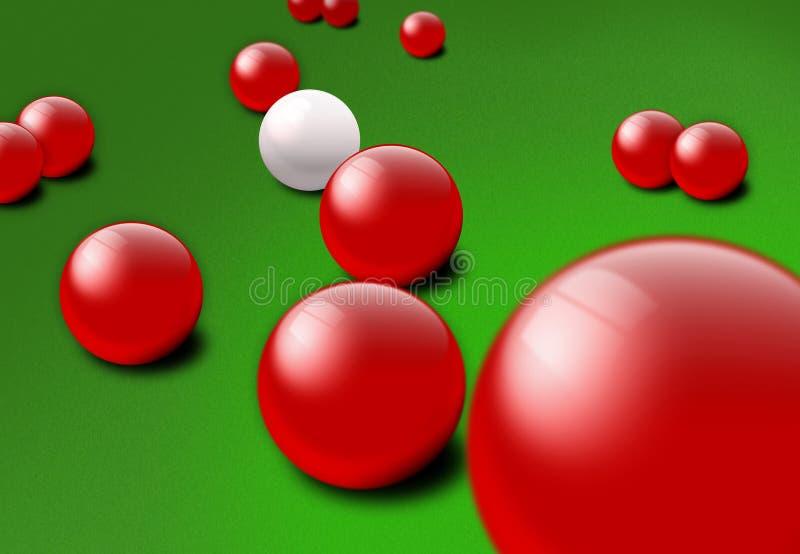 Esferas vermelhas e brancas do Snooker ilustração stock