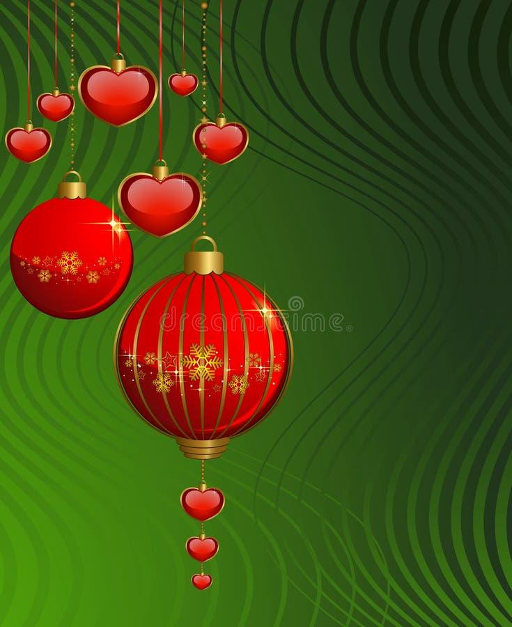 esferas vermelhas em um fundo verde ilustração do vetor