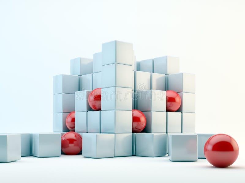 Esferas y extracto de los cubos stock de ilustración