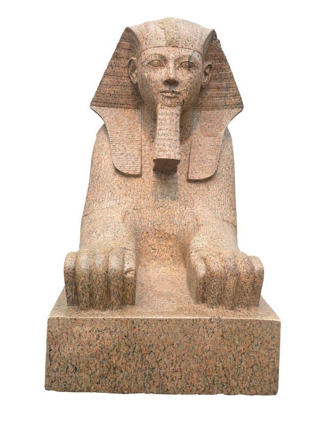 Esfinge egipcia antigua aislada en blanco foto de archivo libre de regalías