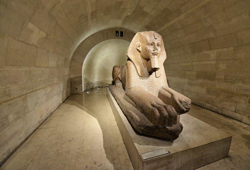 Esfinge en Louvre del museo imagen de archivo