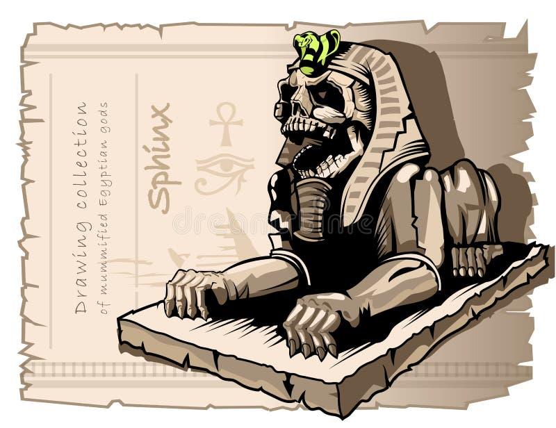 Esfinge, estátua de um cão com um crânio humano Mitologia eg?pcia ilustração stock