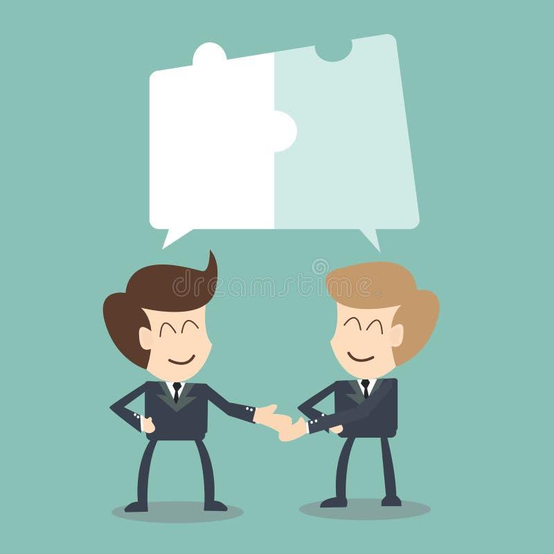 Esforço conjunto - conceito da colaboração, homem de negócios na conversação com concepção da serra de vaivém ilustração royalty free