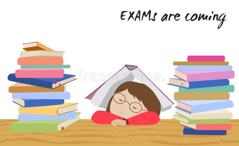 Esforço do estudante do exame A estudante dorme sob o livro ilustração royalty free