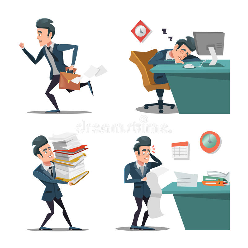 Esforço no trabalho Homem de negócios com a pasta tarde a trabalhar homem na precipitação Fora do tempo estipulado no escritório ilustração stock