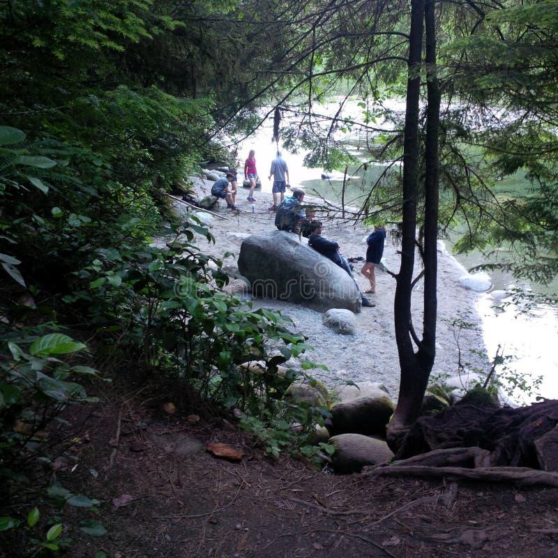 Esfrie fora no rio de Capilano no verão fotos de stock royalty free