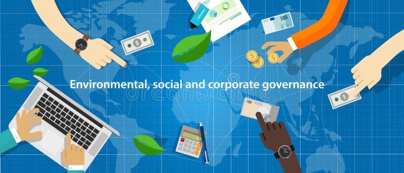 ESG pojęcie środowiskowy, socjalny i zarządzanie w biznesie, podtrzymywalnym i etycznym ilustracja wektor